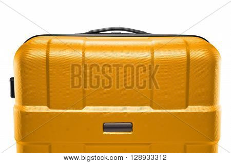 a yellow dark suitcase isolated on a white background