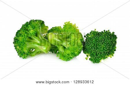 pile of Blanched green broccoli on white background