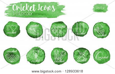 Set of cricket game equipment icons in modern white mono linear style on abstract watercolor green blots. Professional sport concept isolated graphic design elements. Vector illustration.