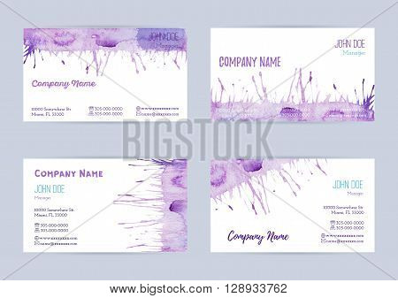 Set of hand painted watercolor horizontal business card templates. Colorful pastel abstract blue and violet brush stocks and splashes on a white background. Complied with the standard size.