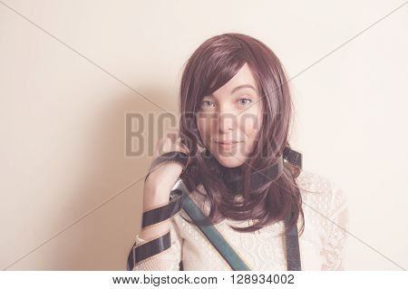 Young Actress In 70S Style Portrait With Filmstrip