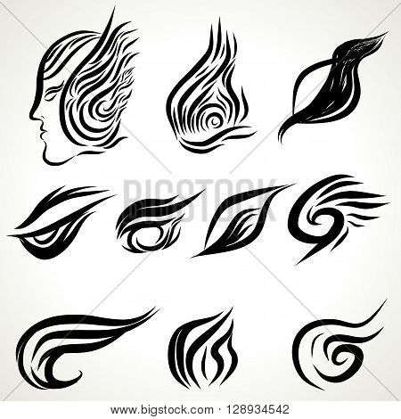 Black and white tattoo line art set