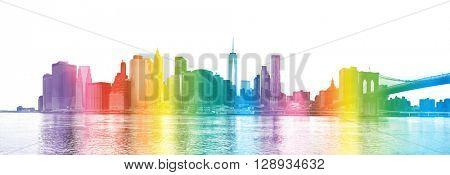 NEW YORK CITY -  rainbow colors silhouette of Manhattan skyscrapers and Brooklyn Bridge, big size