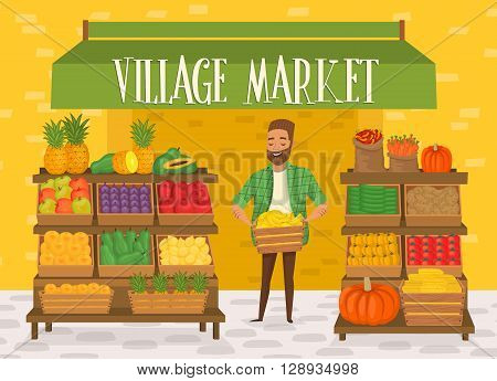 Farmers market. Local farmer shopkeeper. Seller fresh vegetables.  Natural product. Village market. Food for a healthy lifestyle. Local shop. Vegetarian food.