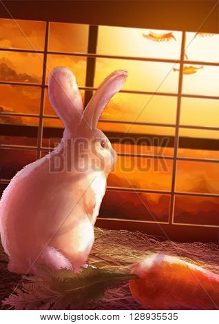 Cartoon illustration of cute white rabbit standing alone in the cage looking through the window in sunset scene wuth no freedom