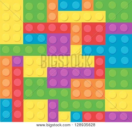 Abstract Plastic construction blocks vector illustration art