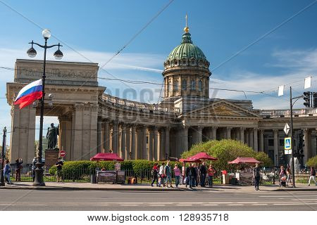 St. Petersburg, Russia - May 8, 2016: Kazan Cathedral -Cathedral of the Kazan Icon of the Mother of God-. View from the House of Books.