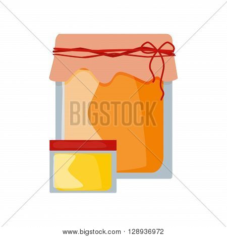 Glass can full of honey and wooden stick isolated. Honey jar vector and cartoon honey jar sweet food. Yellow honey jar healthy ingredient nutrition and isolated natural delicious honey jar.