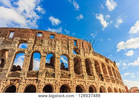 ROME - January 10: Majestic Coliseum on January 10 2016 in Rome Italy.
