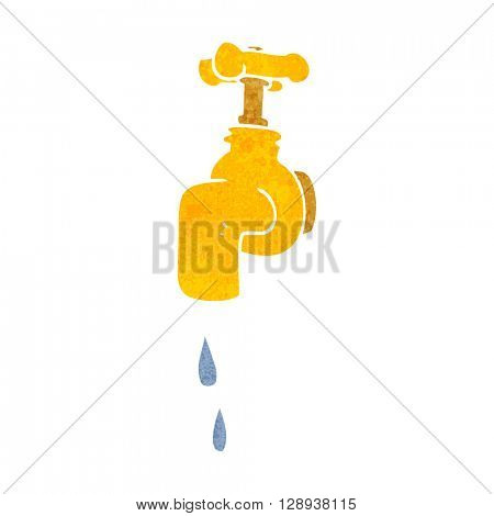 freehand retro cartoon dripping faucet