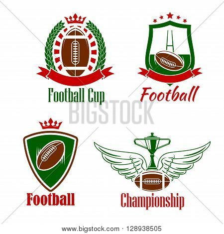 Retro sporting symbols for rugby championship or sport club design with winner trophy cup stands on winged rugby ball, heraldic shields and laurel wreath with balls and gate, adorned by ribbon banners, stars and crowns