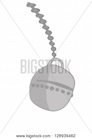Vector illustration of a wrecking ball on a chain swinging towards destruction on a white background for copy space