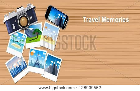 travel memories.  picture of photocamera, smartphone and photographs, vector illustration in flat design banners. travel and vacations concept