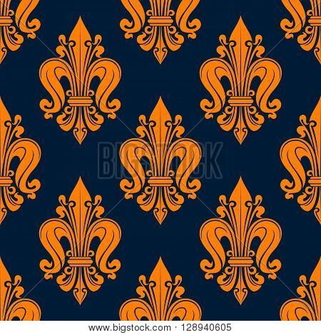 Vintage fleur-de-lis pattern with seamless orange floral compositions of french heraldic lilies adorned by swirls and tendrils over navy blue background. Great for wallpaper or interior textile design