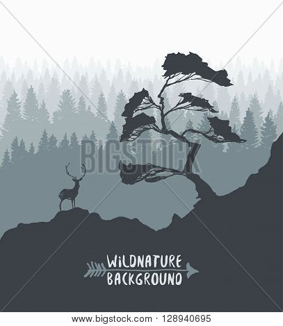 Forest background, design template with pine tree and deer silhouette, hand drawn vector illustration