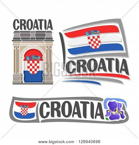 Vector logo for Croatia, consisting of 3 isolated illustrations: Triumphal Arch of Sergius on background of national state flag, symbol of Croatia and croatian flag beside purple iris flower close-up