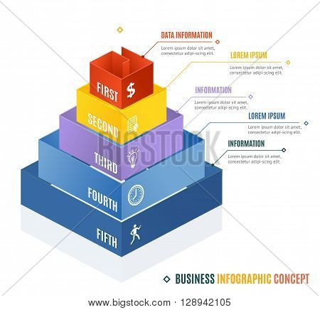Business Infographic Concept. Pyramid Shape. Vector illustration