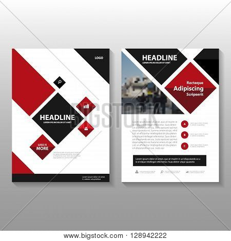 Red Black Vector Business proposal Leaflet Brochure Flyer template design, book cover layout design