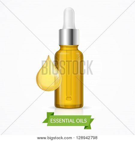 Dropper Essential Oil Bottle with Drop. Vector illustration