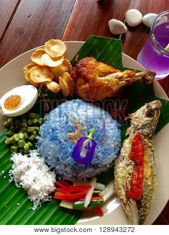 Malaysian local food traditional in kk blue rice