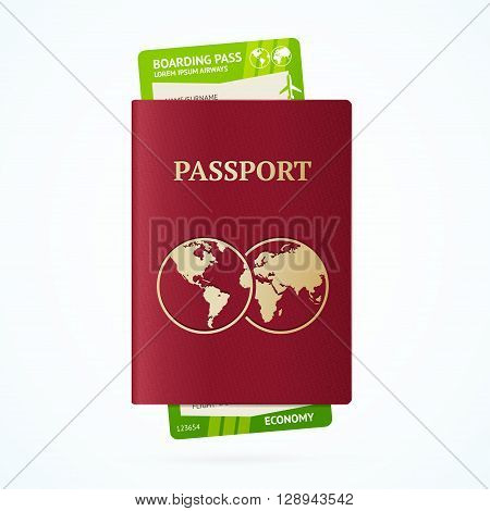 Travel Tourist Concept with Passport and Boarding Pass. Vector illustration