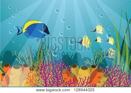 Tropical underwater life - coral reef with fish on a blue sea background. Vector illustration.