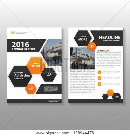 Orange Black Vector Business proposal Leaflet Brochure Flyer template design, book cover layout design