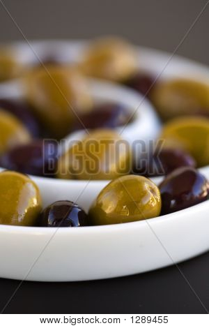 Olives In Spiral Bowl Green And Black