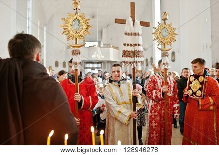 Lviv, Ukraine - April 27, 2016: Holy Lviv, Ukraine - April 27, 2016: Holy Week Passion And Death Of