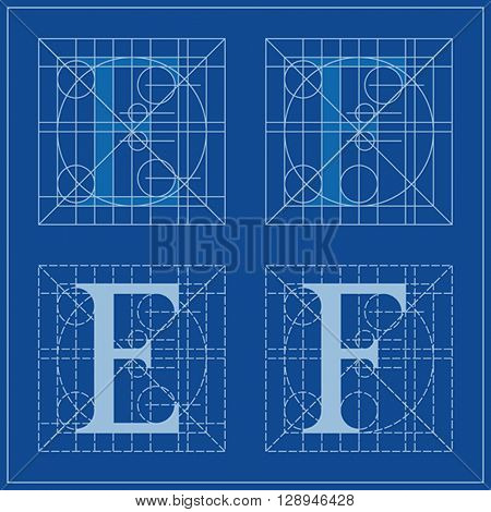 Designing Initials, letters E and F, blueprint.
