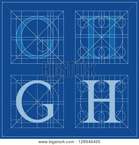 Designing Initials, letters G and H, blueprint.