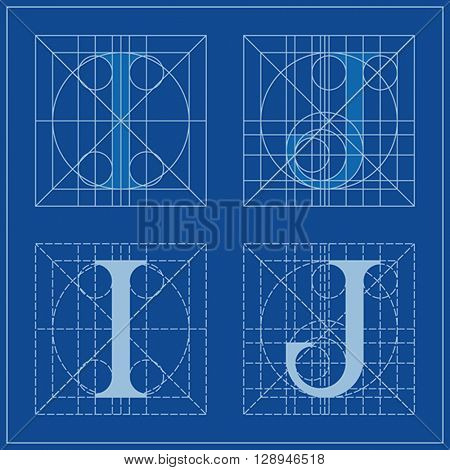 Designing Initials, letters I and J, blueprint.