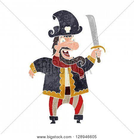 freehand retro cartoon laughing pirate captain