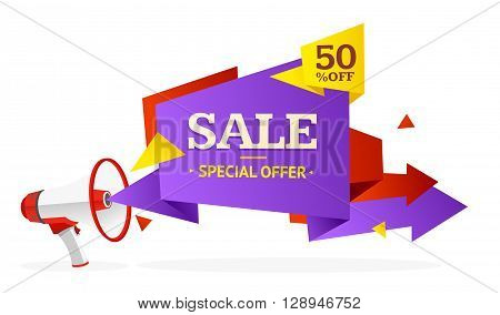 Discount Banner Sticker with Bullhorn. Vector illustration