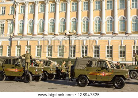 St.PETERSBURG, RUSSIA - MAY 8, 2016: Military equipment deployed near Palace Square in preparation for the military parade on May 9.
