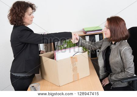 Woman After Fired Shake Hand Of Her Boss