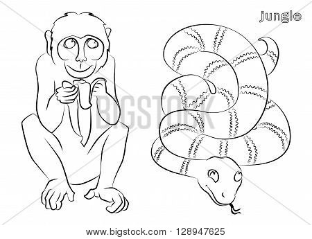 black and white image of a monkey and snake- suitable for a child's coloring and not only. For your convenience each significant element is in a separate layer.