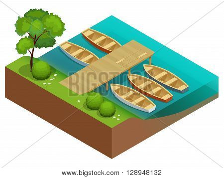 Wooden rowing boats on a wooden pier.  Wooden boat with paddles. Flat 3d isometric vector illustration