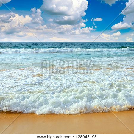 Ocean waves and blue sky