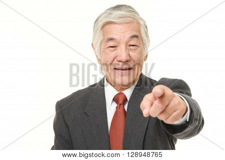 senior Japanese businessman decided on white background