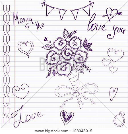 Wedding drawings. Sketch wedding bouquet of flowers on notebook page.Hand drawn wedding template. Wedding invitation in doodle style.Merry me. Love. Wedding bouquet.