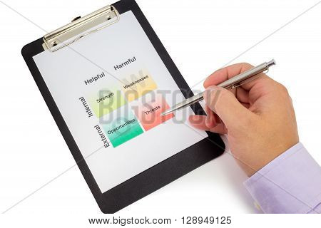 Hand holding a pen pointing at the threats corner of a swot analysis sheet in a clipboard
