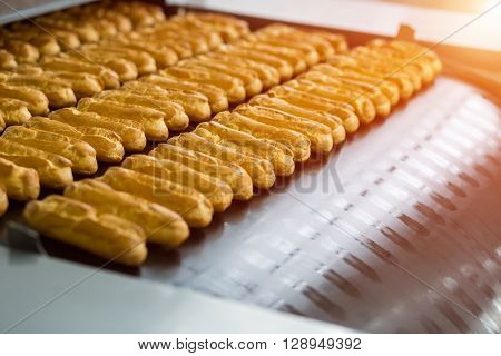 Eclair shells on conveyor line. Rows of eclair shells. Huge order for confectionery plant. Standard size and shape.