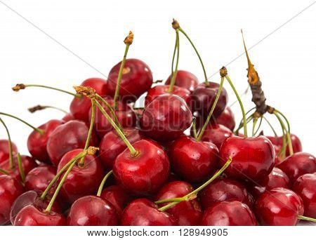 sweet cherries on a white background pill, greengrocery,