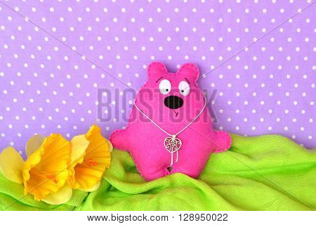 Pink felt Teddy bear - children toy, sewing craft ** Note: Soft Focus at 100%, best at smaller sizes
