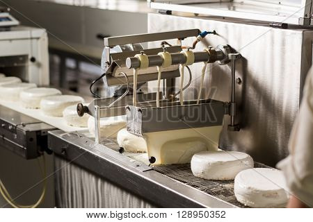 White cakes on conveyor belt. Machine pouring liquid on cakes. Simple recipe for delicious cake. Lots of calories and energy.