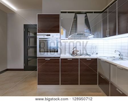 Idea of modern kitchen. New kitchen with Zebrano facade cabinets modern gray hood with glass pocket white tiled backsplash. 3D render
