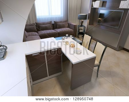 View of contemporary kitchen bar. Snowy acrylic countertop dark zebrano facade on cabinets elegant chairs and lounge with velvet sofa on background. 3D render