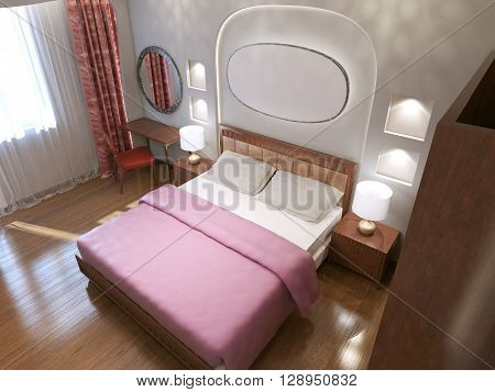 Stylish king size bed in bedroom. 3D render