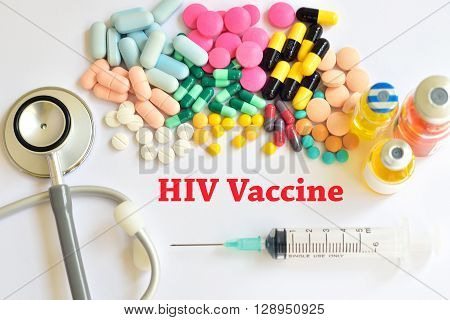 Drugs, syringe and HIV vaccine for injection
